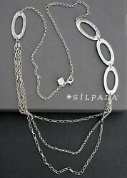 ❤️ Silpada Necklace N1720 Long Hammered Oval Strands Sterling Silver