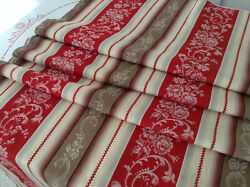 Antique French Floral Damask Cotton Ticking Fabric Red Stripe 1900 26 X 76