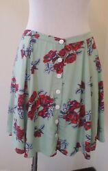 Minkpink Womens Skirt Medium Button Front  Red Roses Flowers Above Knee Cute New
