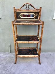Unusual 19th Century English Burnt Bamboo And Lacquer Etagere / Shelf W/ Mirror