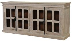 79 L Sideboard Solid Mango Wood 16 Glass Panels Traditional Metal Hardware