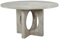 54 W Lester Dining Table Reclaimed Solid Pine Wood Modern Circle Cutout Base