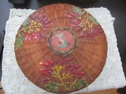Antique Hand Painted Round Beautifully Lined Wicker Sewing Basket