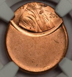 2000 Ngc Ms66rd 55 Off Center Wide Am Lincoln Cent Mint Error Type 2 Proof Rev