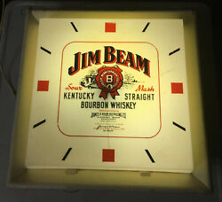 Jim Beam Whiskey Lighted Clock Vintage Whisky Wall Sign