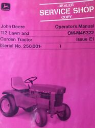 John Deere 112 Lawn Garden Tractor Owners Manual And Predelivery Checklist 250001