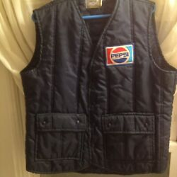 Vtg Quilted Pepsi Cola Patch Work Vest Delivery Uniform Trucker Puffer Winter L