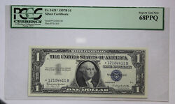 Series 1957-b 1 Silver Certificate Star Note Fr-1621 Pcgs Currency Gem 68