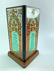 Vintage Seriglass Yorkraft Stained Glass Panel W/ Base Candle 32002 Psalm 241