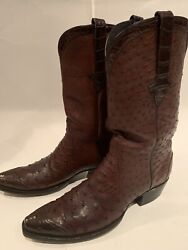 Stallion Zorro Exotic Brown Full Quil Ostrich And Caiman Boots Sz 10b 3k+