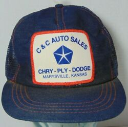 Vintage C&C Chrysler Plymouth Dodge Patch Denim Snapback Trucker Hat Made in USA