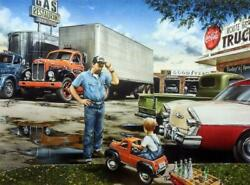 Dan Hatala On the Road again Truck Stop Pedal Car and Country Cafe Art Print