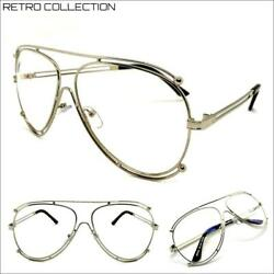 Mens CLASSIC Vintage 80s RETRO Style Clear Lens EYE GLASSES Silver Fashion Frame