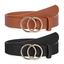 JASGOOD Women Fashion Designer Belts Leather with Gold Double O-Ring Buckle 270