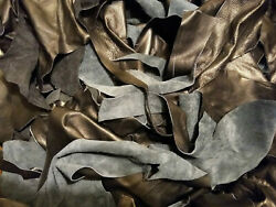 10 Pounds Black Upholstery Leather Scrap Mixed Weights