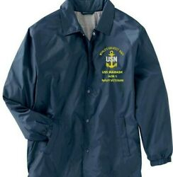 Uss Wabash Aor-5 Navy Veteran Coaches Embroidered Lightweight Jacket