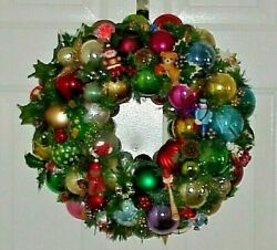 Wonderful Whimsical Vintage Ornament Wreath One Of A Kind Hand Made Must See