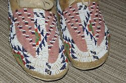 19th Century Northern Plains Indian Sioux Beaded Moccasins Buffalo Track Pink