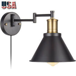 Vintage Swing Arm Wall Lamp Plug-in Cord Industrial Wall Sconce Light Bedroom