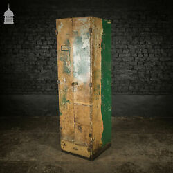Vintage Metal Workshop Cabinet Cupboard With Shelves And Two Drawers