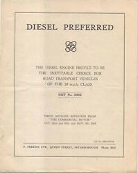 Perkins Diesel Preferred 3 Articles Printed From Commercial Motor 1943