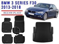 Floor Mats For Bmw 3 Series 2013-2018 F30 1st And 2nd Row Cargo Mat Tray Rubber 3d