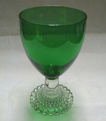 Anchor Hocking Forest Green Bubble Depression Glass Water Goblet