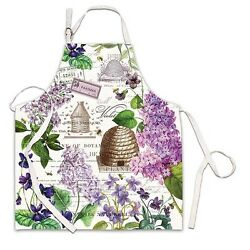 Michel Design Works Cotton Chefand039s Apron Lilac And Violets Bee Hive - New