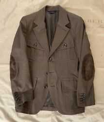 Tom Ford Military Jacket With Leather Details Blazer Size 48 3540 Brown