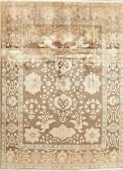 Antique Look Muted Floral Brown Area Rug Distressed All-over Hand-knotted 8and039x11and039