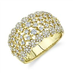 Womens Diamond Cocktail Ring 14k Yellow Gold Wide Round Cut Statement Right Hand