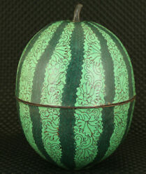 Antique Chinese Cloisonne Watermelon Box Statue Collectable Noble Gift