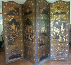 Antique Leather Screen Embossed Gilded 19th Century