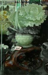China 100 Natural Xiuyu Jade Stone Carving Flower Basket Chinese Cabbage Statue