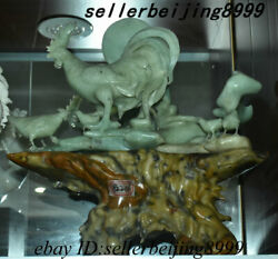 Old China Natural Xiuyu Jade Carving Fengshui 12 Zodiac Year Rooster Cock Statue