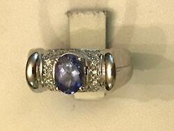 14k White Gold Oval Tanzanite Pave Diamond Band Ring Signed Lr Size 7 1.05 Ct Tw