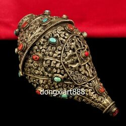 14 Cm Tibet Copper Wire Inlay Gemstone Shell Conch Whelk Sea Snail Charonia Horn