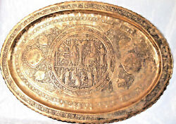Antique Oval Brass 34''85 Cm Table Tray 34''85 Cm Middle Eastern Islamic Art