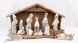 Vintage Lladro Complete Childrens Nativity With Manger Issued 1971-74 4670-4680
