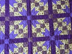 Road To Oklahoma Quilt Shades Of Purple And Floral Pink Back Queen Size Handmade