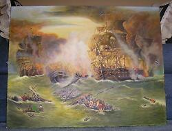 GALLEY MAST CLIPPER BATTLE SHIP NAUTICAL OCEAN BOAT FLAGS PAINTING RESTORATION