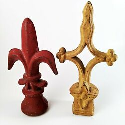 Architectural Salvage Finials Cast Iron Red And Yellow Paint