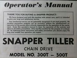 Snapper Walk-behind 300t To 500t Tiller Andengine Owner And Parts Manual Chain Drive