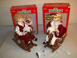Vtg Set Telco Sears Motionette Christmas Animated Boy And Girl Rocking Horse Boxed
