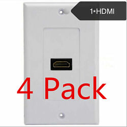 4 Pack Lot - 1-port Hdmi Wall Face Plate Panel Cover Outlet 4k Arc Hdr 3d White