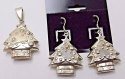Vintage Puffy Christmas Tree Pendant And Matching J-hook Earrings