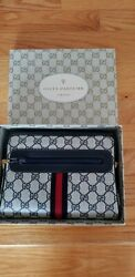 Vintage GUCCI Ophidia PARFUMS Leather Crossbody Blue Web Supreme GG Bag With Box