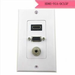 Hdmi Vga 3.5mm Audio Stereo Pass Through Component Composite Wall Plate Panel