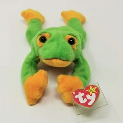 Extremely Rare Retired 1997 Smoochy Ty Beanie Baby W/single Thread Mouth Mint