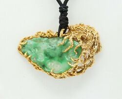 Vintage Hand Carved Jade 14k Yellow Gold Pendant